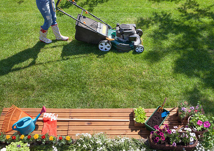 Help your neighbor with mowing