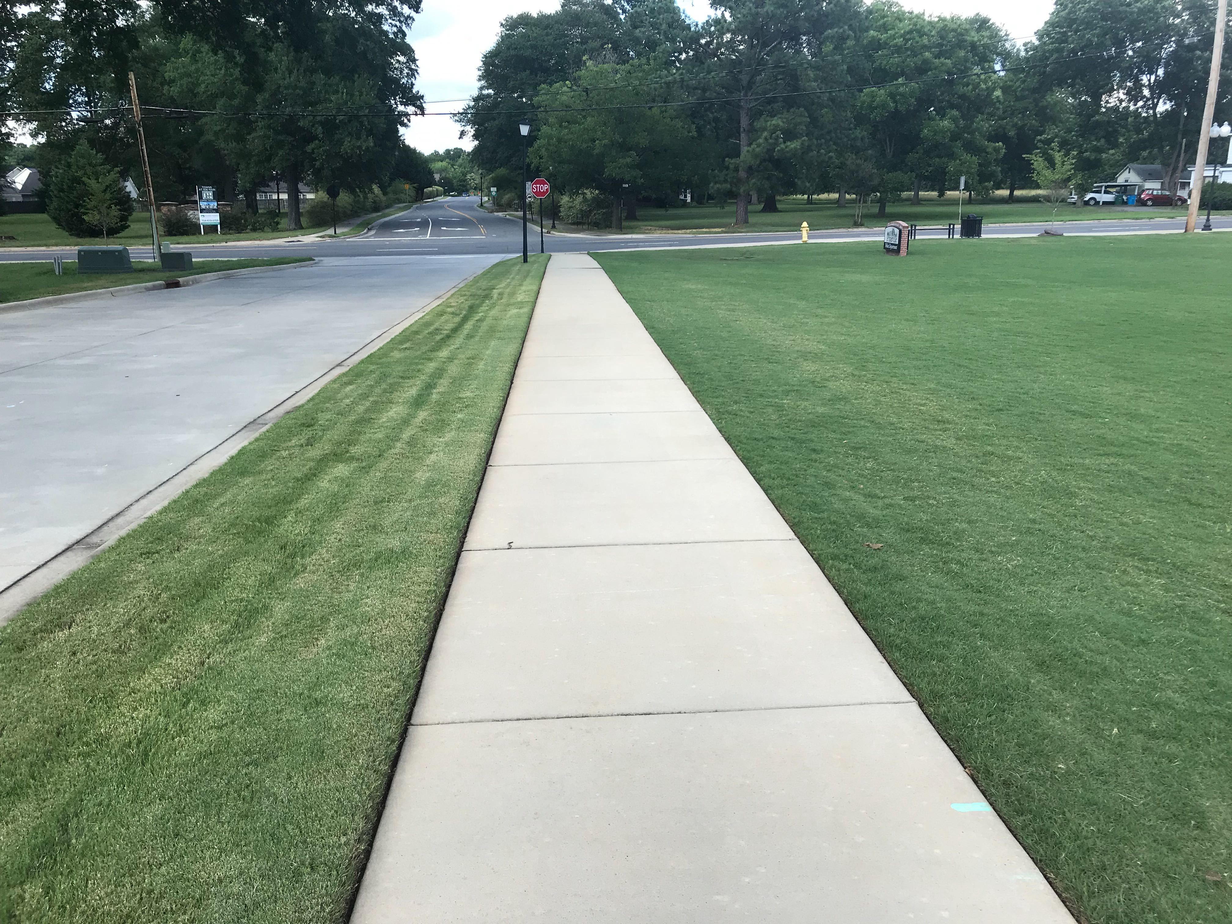 beauty strip mowed by traditional mower compared with lawn maintained by Automower