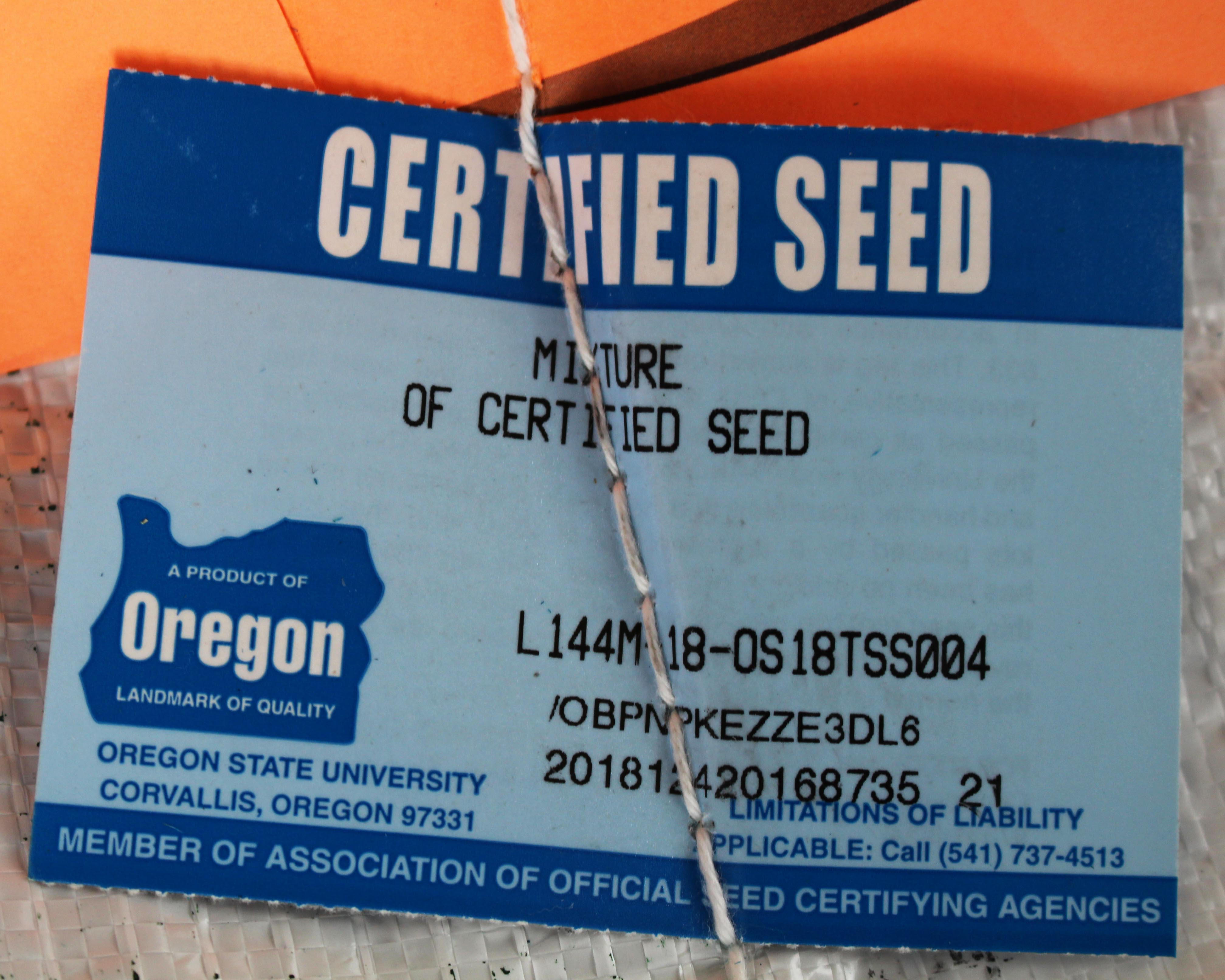 blue tag certified fescue seed