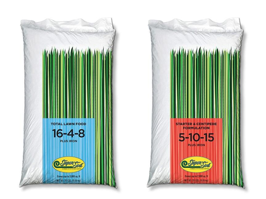 Super-Sod's 5-10-5 and 16-4-8 fertilizer bags