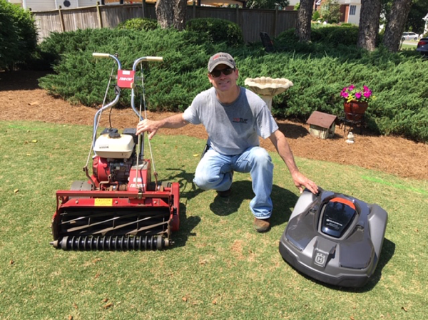 Mike with tru-cut reel mower and automower