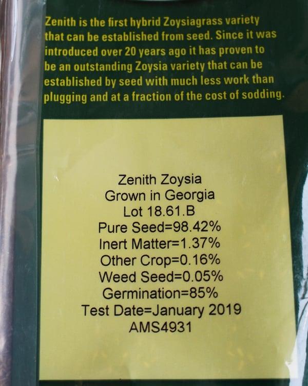 Zenith Zoysia germination rate