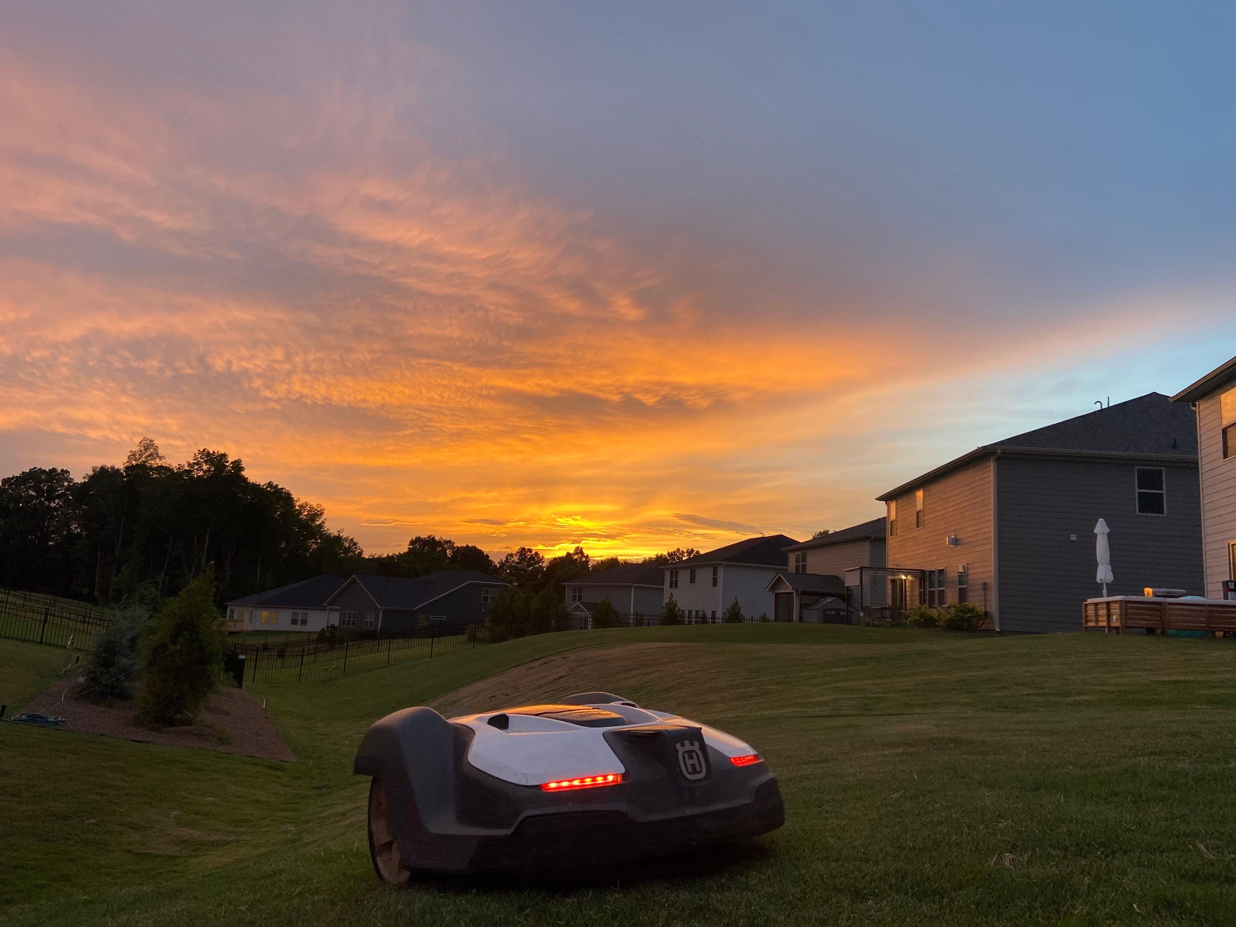 Automower at sunset